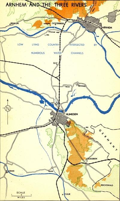 Map of Arnhem, Nijmegen and the Three Rivers