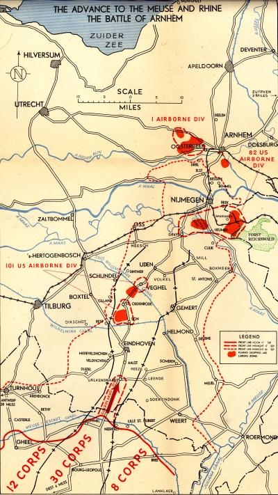 Map showing the plan for Operation Market Garden and the Battle of Arnhem