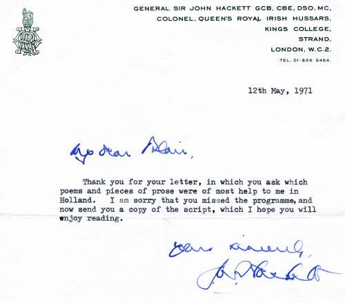 John Hackett, signed letter