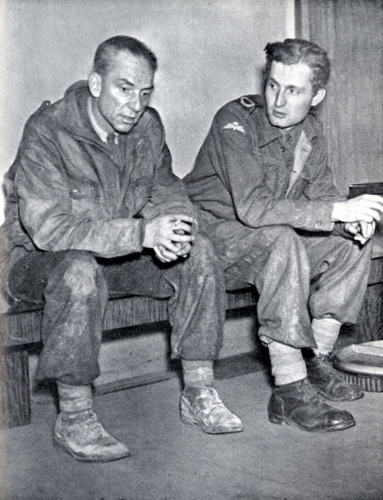 Stanley Maxted (left) and Guy Byam in Broadcasting House, London on the night of their return from Arnhem