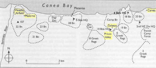Allied troop dispositions, Maleme - Chania sector, 20 May 1941 (Source: The Oxford Companion to New Zealand Military History and NZHistory.net)
